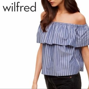 Wilfred Free | Blue Striped Off-Shoulder Tee